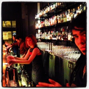 Amazing bartenders all lined up to make you drinks